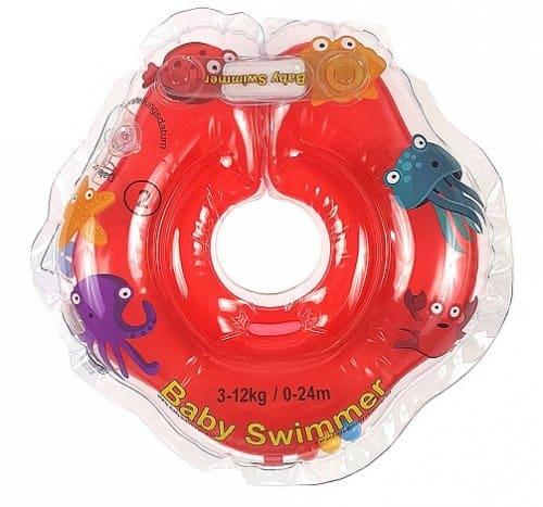 Colacul de inot Babyswimmer Rosu cu zornaitoare