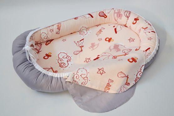 Baby Nest Berze Gri Reversibil – TinyTotsBebe
