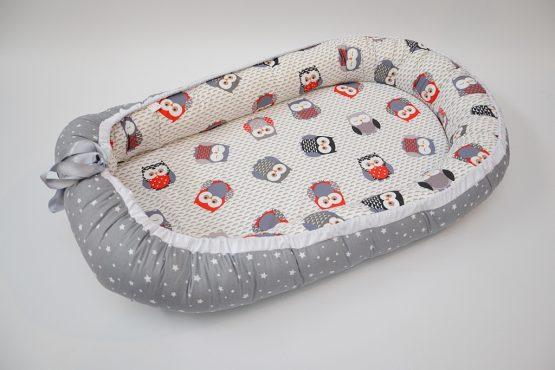 Baby Nest Bufnite Gry Reversibil – TinyTotsBebe