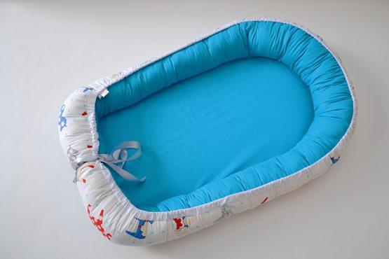 Baby Nest Poney-Blue Reversibil – TinyTotsBebe